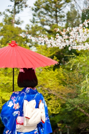 a portrait of japanese kimono woman with red traditional umbrella photo