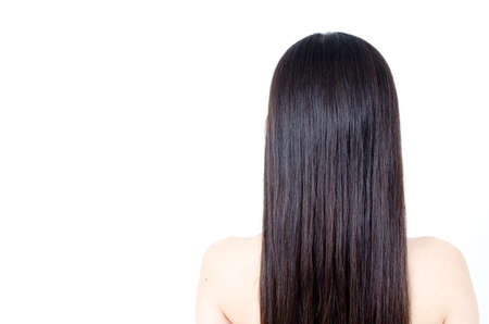 beautiful straight hair isolated on white background Stock Photo