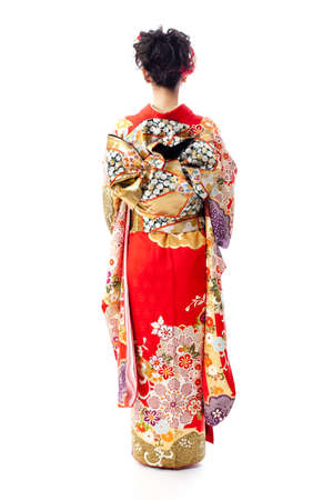 a portrait of japanese woman wearing japanese traditional kimono on white background