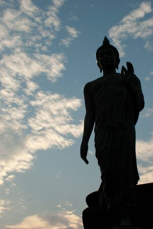 silhouette of big buddha statue with clear sky at Phutthamonthon, Nakhon Pathom, Thailand photo