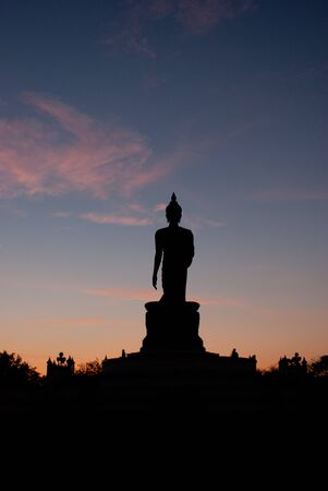 nakhon pathom: silhouette of big buddha statue with clear sky at Phutthamonthon, Nakhon Pathom, Thailand Stock Photo