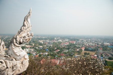 thaiart:  King of Nagas statue from top view of the petchburi province  Stock Photo