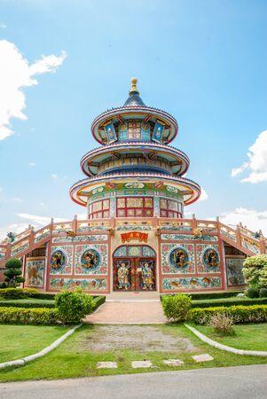 Chinese shrine with blue sky background photo