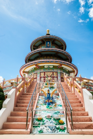thaiart: Chinese shrine with blue sky background