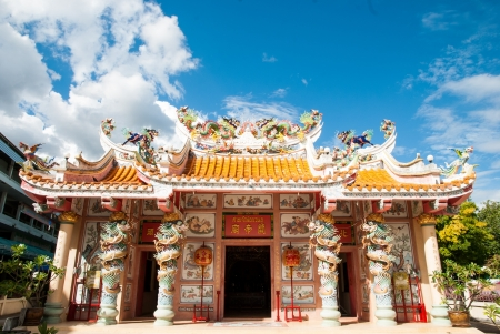 thaiart: chinese shrine with bule sky background