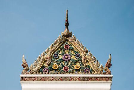 thaiart: A gable of shrine in the city pillar shrine, Bangkok, Thailand