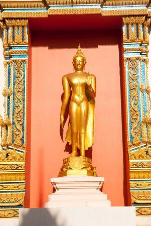 thaiart: Standing golden Buddha  Stock Photo