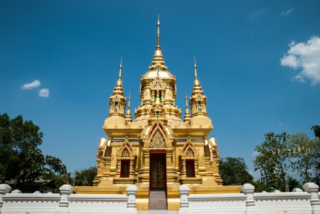 thaiart: Golden ubosot in Kamad temple, Chiangmai, Thailand