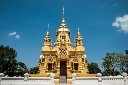 thai believe: Golden ubosot in Kamad temple, Chiangmai, Thailand