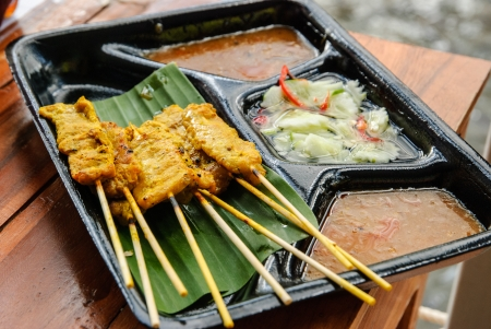 Thai dish from floating market   Pork Satay  Moo-Sa-Tay   photo