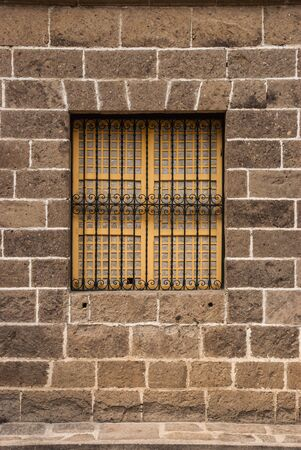 grille: Vintage window and grille in Intramuros, Manila, Philippine. Stock Photo