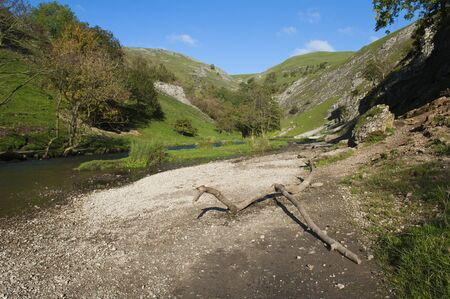 Dovedale in the Peak District, Derbyshire, England is a wonderful area for walking. photo