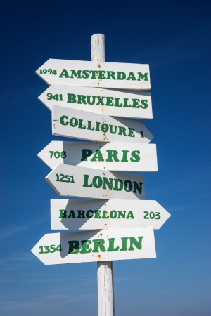 A sign post showing distances, in Kilometres, to some of the major cities in Europe  photo