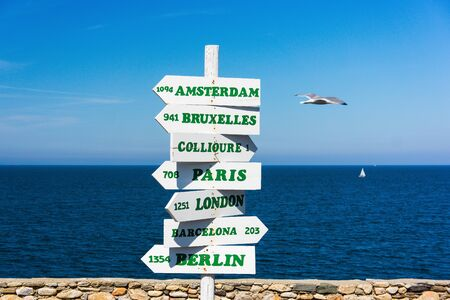 kilometre: A sign post showing distances, in Kilometres, to some of the major cities in Europe