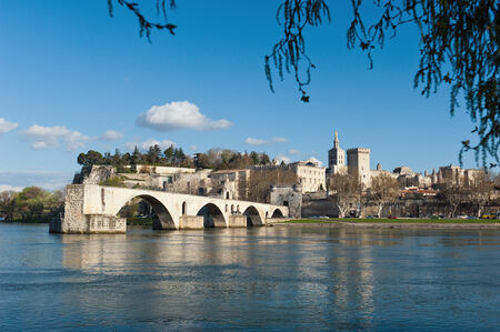 rhone: An old bridge that used to cross the River Rhone at Avignon, Provence, France.