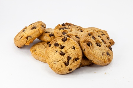 chocolate chips: A PILE OF CHOCOLATE COOKIES Stock Photo