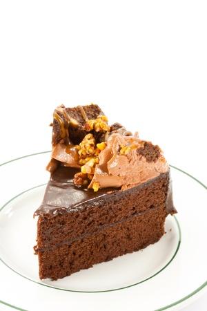 custard slice: chocolate cake on white background
