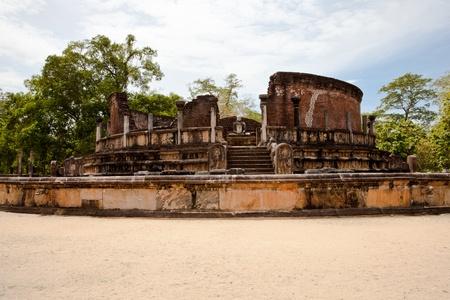 ancient stupa in the ancient city of polonnaruwa, sri lanka photo