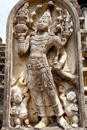 ancient guardstone at vatadage in polonnaruwa, sri lanka photo