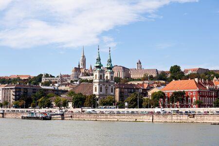 matthias: view of matthias church in budapest from danube river, hungary