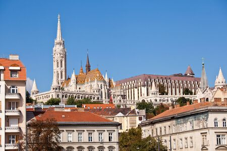 fisherman bastion: view of matthias church in budapest, hungary