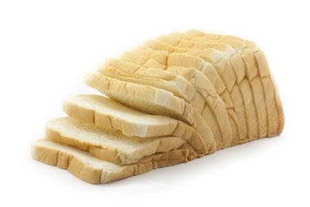 sliced loaf of bread on white background photo