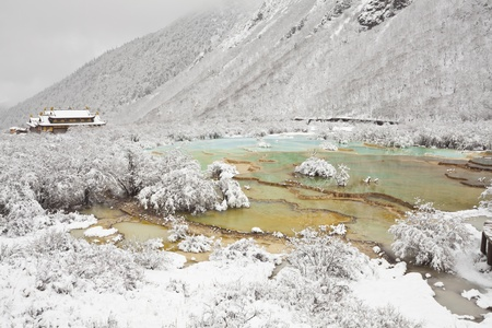 glamourous pools in the winter, huanglong, sichuan, china photo