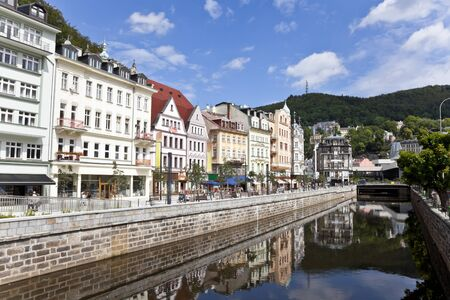carlsbad: cityscape of karlovy vary, czech republic