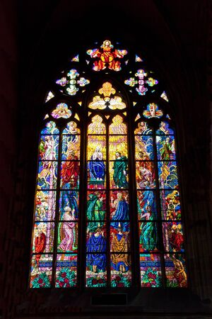 gothic stained glass window in st  vitus cathedral, prague, czech republic Stock Photo - 14564837