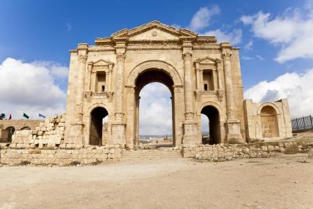 hadrian: el Arco de Adriano en Jerash antigua, Jordania Foto de archivo