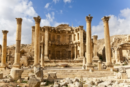 hadrian: the nymphaeum in the roman ancient city of jerash, jordan Stock Photo
