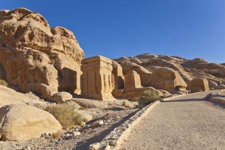 the djinn blocks, the first monuments on the road to petra, jordan photo