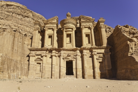 the facade of monastery in petra, jordan photo