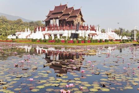 ho kham luang in chiang mai, thailand, the traditional lanna style building photo