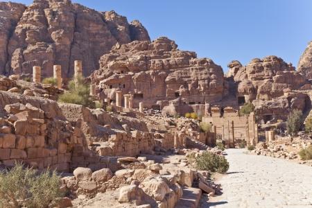nabataean: ruins of the nabataean temple in petra, jordan