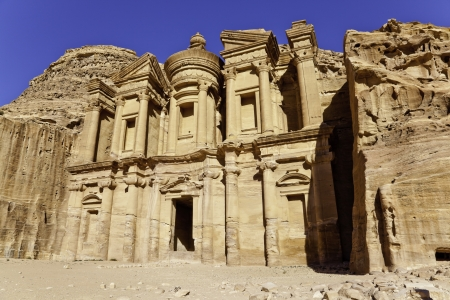 the monumental facade of ed dier in ancient nabataeans city of petra, jordan photo
