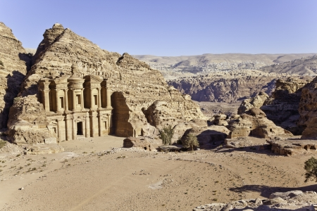 ed deir and the modern city of petra in the background, jordan
