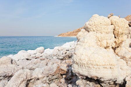 salt crystal: salt crystal at dead sea coast, jordan