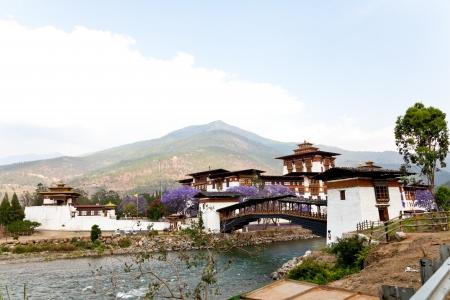 Bhutan: punakha dzong with wooden cantilever bridge, bhutan