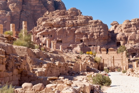 monumental: monumental gate and monumental step at south temple of nabatean in petra, jordan Stock Photo