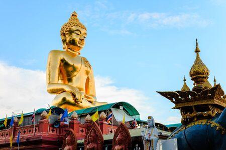 orison: big buddha image at golden triangle, chiang rai, thailand Stock Photo