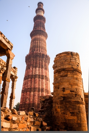 monument in india: qutub minar, a sandstone monument in delhi, India Stock Photo