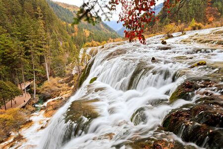 big waterfalls in jiuzhaigou, china photo