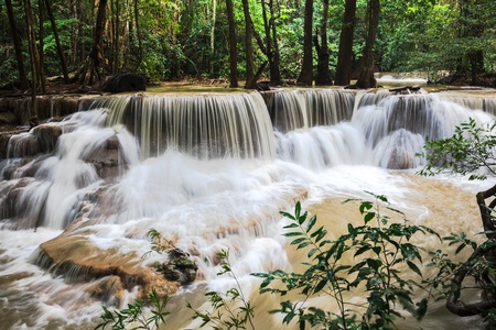 Huay mae khamin waterfalls in kanchanaburi province, thailand photo