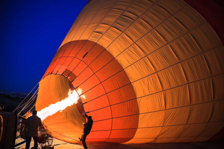 hot air: Inflation of hot air balloon Stock Photo