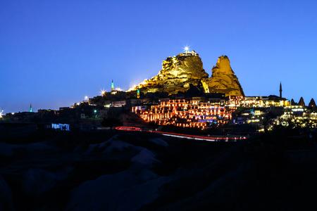 goreme: Uchisar and the village in the night, cappadocia, turkey