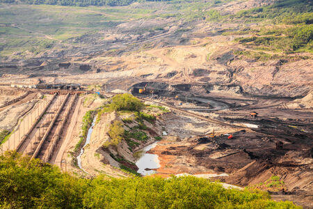 coal mine: The site for extraction of lignite in lampang, thailand Stock Photo