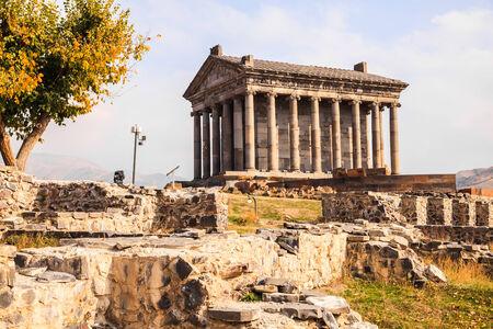 greek temple: Garni Pagan Temple is the hellenistic temple in Republic of Armenia Stock Photo