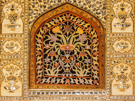 Colorful Floral Marble Window at Amer Palace in Jaipur, Rajasthan, India