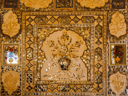 Decoration of mirrored silver tiles at Amer Palace in Jaipur, Rajasthan, India